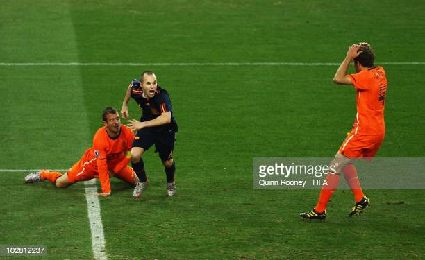 Andres Iniesta of Spain celebrates scoring the winning goal during the 2010 FIFA World Cup South Africa Final match between Netherlands and Spain at...