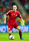 Andres Iniesta of spain controls the ball during the Spain v Slovakia EURO 2016 Qualifier at Carlos Tartiere on Sep 5 2015 in Oviedo Spain