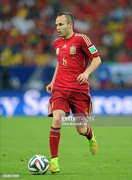 Andres Iniesta of Spain in action during the 2014 FIFA World Cup Brazil Group B match between Spain and Chile at Maracana Stadium on June 18 2014 in...