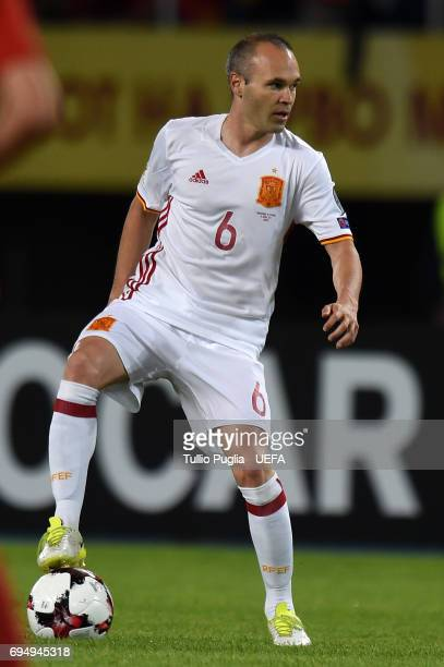 Andres Iniesta of Spain in action during the FIFA 2018 World Cup Qualifier between FYR Macedonia and Spain at Nacional Arena Filip II Makedonski on...