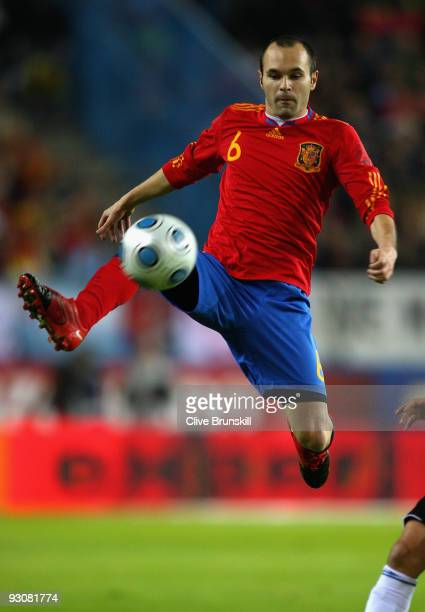 Andres Iniesta of Spain in action during the friendly International football match Spain against Argentina at the Vicente Calderon stadium in Madrid...