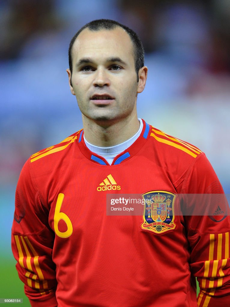 Andres Iniesta of Spain lines-up before the International friendly match between Argentina and Spain at the Vicente Calderon stadium on November 14, 2009 in Madrid, Spain.