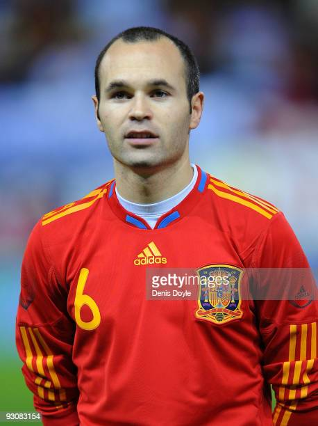 Andres Iniesta of Spain linesup before the International friendly match between Argentina and Spain at the Vicente Calderon stadium on November 14...