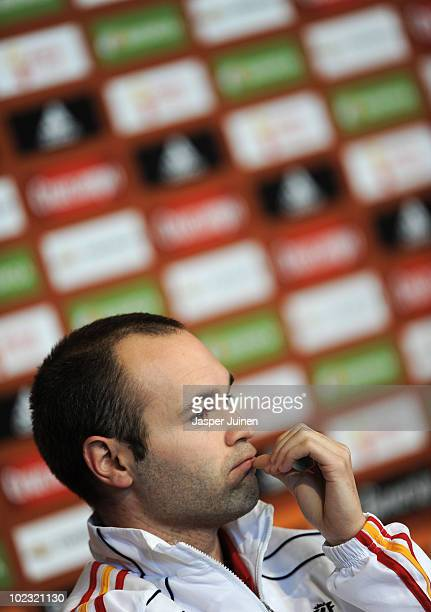 Andres Iniesta of Spain listens to questions from the media during a press conference on June 23 2010 in Potchefstroom South Africa