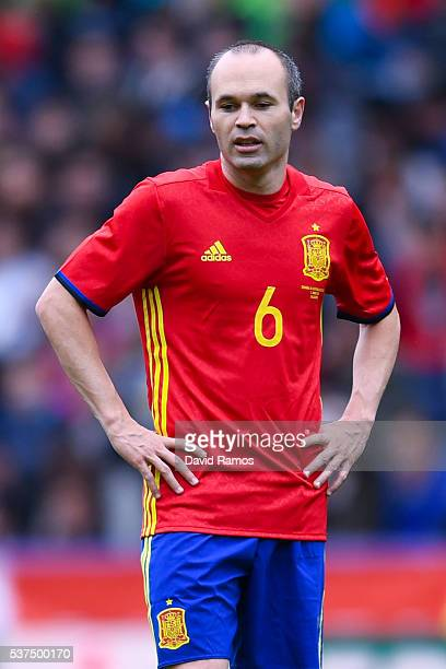Andres Iniesta of Spain looks on during an international friendly match between Spain and Korea at the Red Bull Arena stadium on June 1 2016 in...