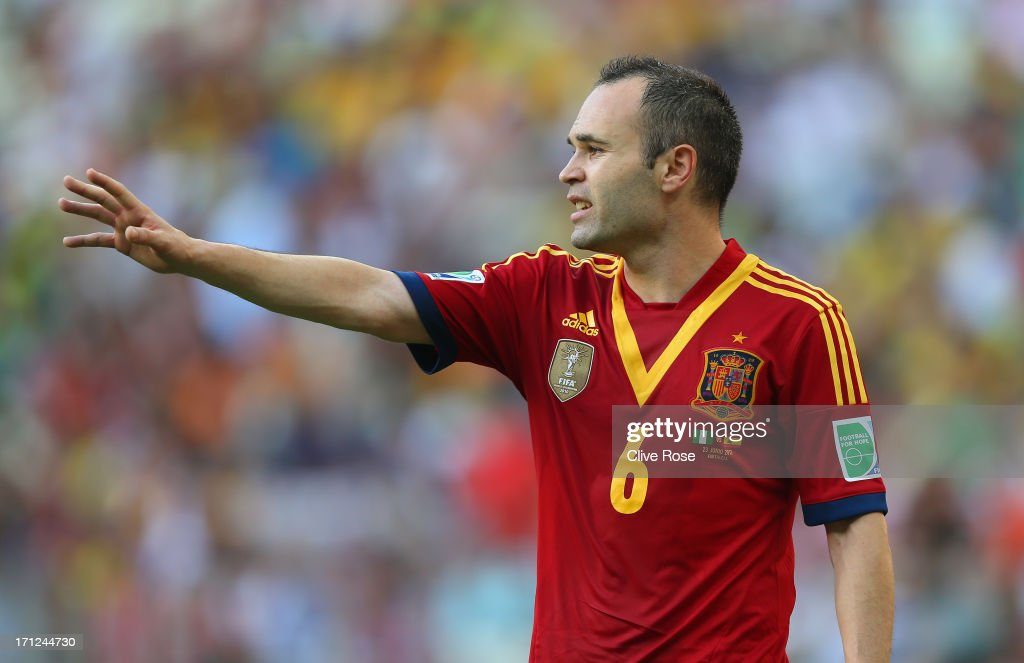 Andres Iniesta of Spain looks on during the FIFA Confederations Cup Brazil 2013 Group B match between Nigeria and Spain at Castelao on June 23, 2013 in Fortaleza, Brazil.