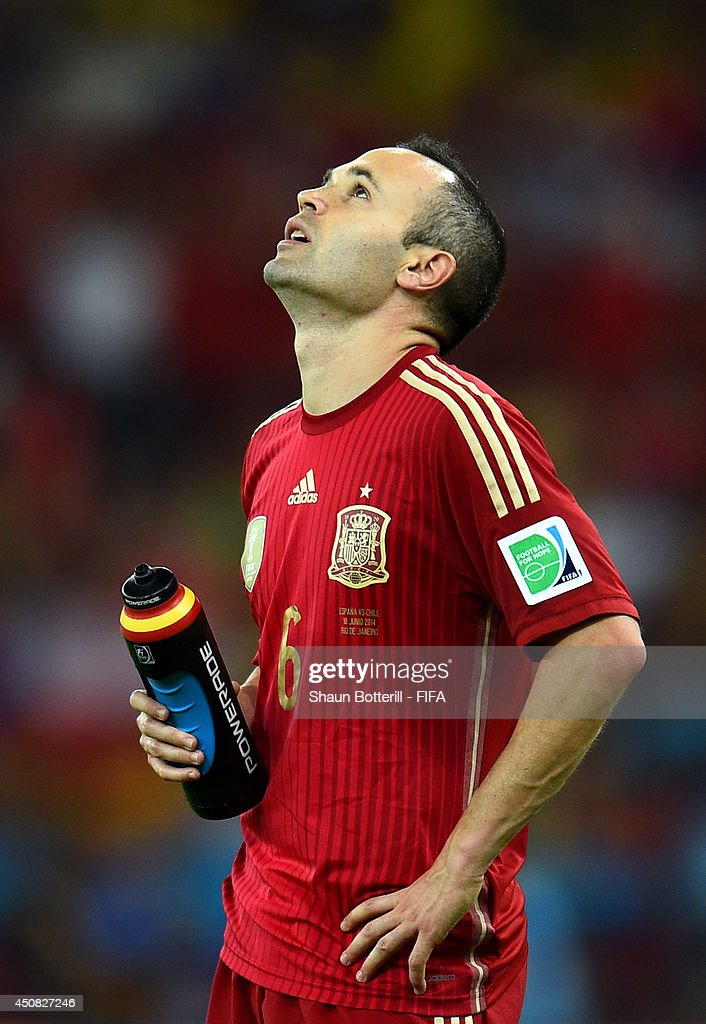 Andres Iniesta of Spain reacts during the 2014 FIFA World Cup Brazil Group B match between Spain and Chile at Estadio Maracana on June 18, 2014 in Rio de Janeiro, Brazil.