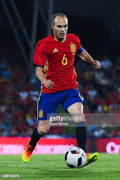 Andres Iniesta of Spain runs with the ball during an international friendly match between Spain and Georgia at Alfonso Perez stadium on June 7 2016...