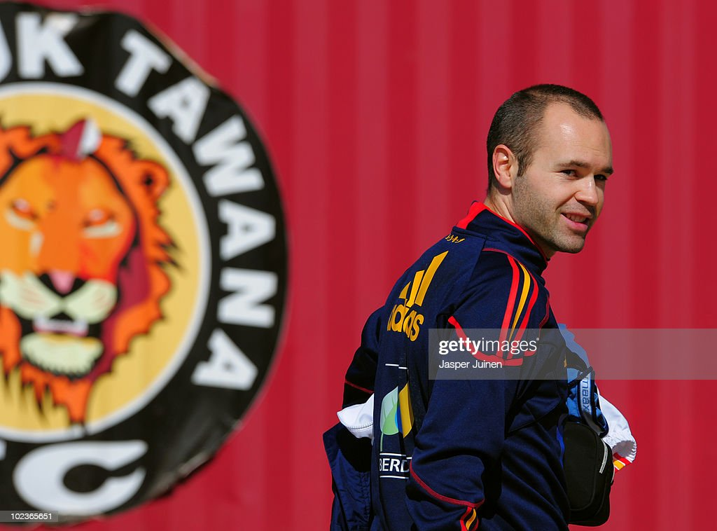 <a gi-track='captionPersonalityLinkClicked' href=/galleries/search?phrase=Andres+Iniesta&family=editorial&specificpeople=465707 ng-click='$event.stopPropagation()'>Andres Iniesta</a> of Spain smiles after attending a training session on June 24, 2010 in Potchefstroom, South Africa.
