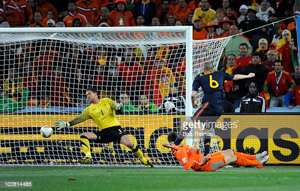 Andres Iniesta scores the winning goal for Spain during the 2010 FIFA World Cup Final between the Netherlands and Spain on July 11 2010 in...