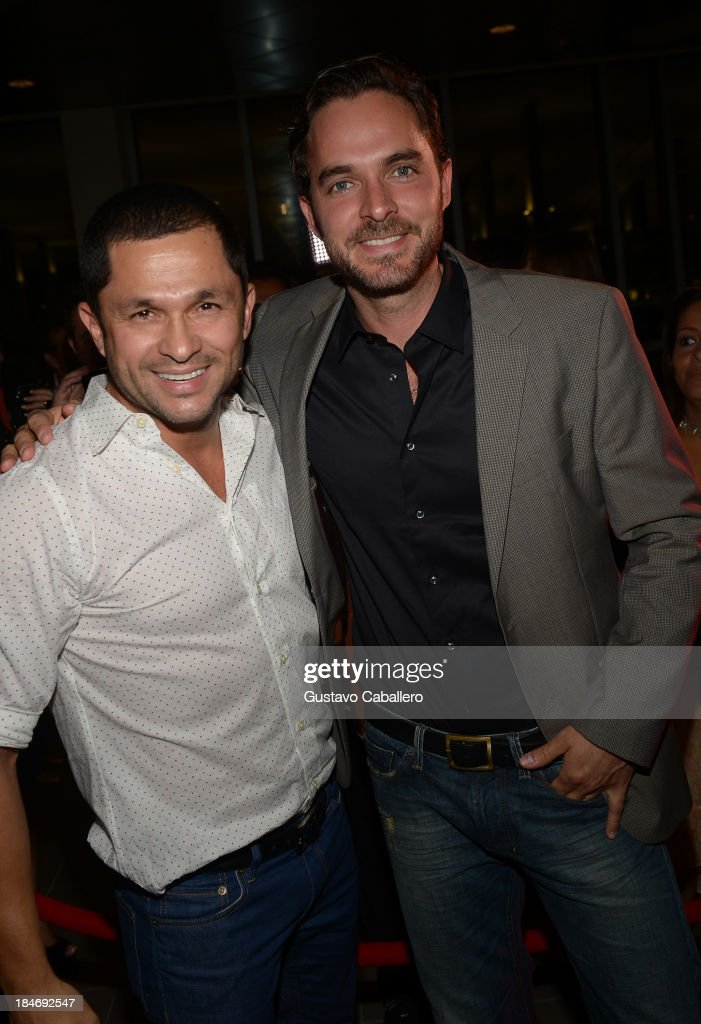 Andres Lopez and <a gi-track='captionPersonalityLinkClicked' href=/galleries/search?phrase=Manolo+Cardona&family=editorial&specificpeople=689873 ng-click='$event.stopPropagation()'>Manolo Cardona</a> arrives for the premiere of 'The Snitch Cartel'at Regal South Beach on October 14, 2013 in Miami, Florida.