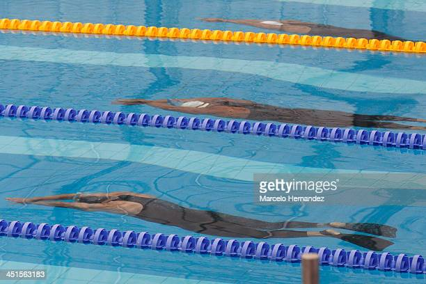 Andres Moreno of Colombia Andres Moreno of Venezuela competes in mixed 4 x 50 mts freestyle Finswimming event as part of the XVII Bolivarian Games...