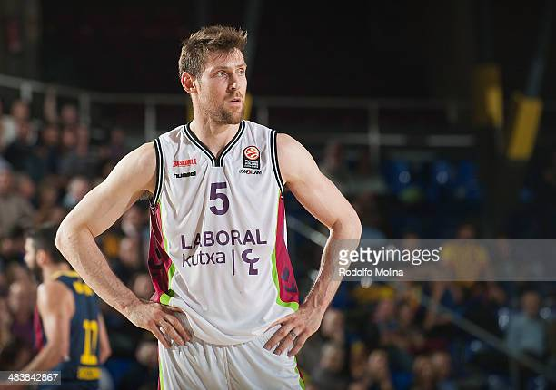 Andres Nocioni #5 of Laboral Kutxa Vitoria in action during the 20132014 Turkish Airlines Euroleague Top 16 Date 14 game between FC Barcelona Regal v...