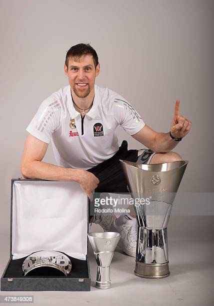 Andres Nocioni #6 of Real Madrid and MVP of the final posesduring the Turkish Airlines Euroleague Final Four Madrid 2015 Champion Trophy Ceremony at...