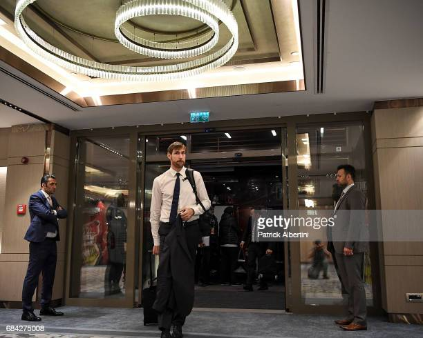 Andres Nocioni #6 of Real Madrid arriving to the 2017 Turkish Airlines EuroLeague Final Four at Renaissance Polat Istanbul Hotel on May 17 2017 in...