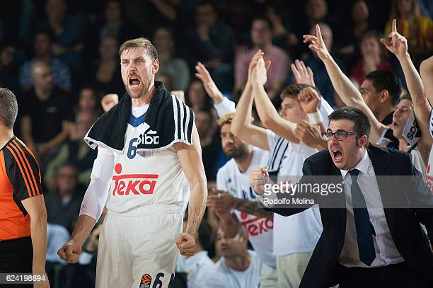 Andres Nocioni #6 of Real Madrid celebrates during the 2016/2017 Turkish Airlines EuroLeague Regular Season Round 8 game between FC Barcelona Lassa v...