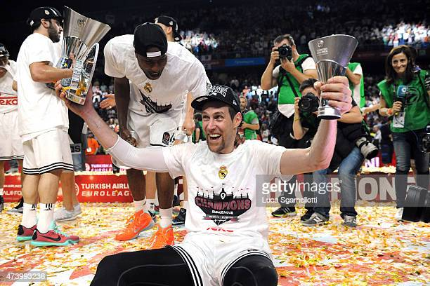 Andres Nocioni #6 of Real Madrid celebrates during the Turkish Airlines Euroleague Final Four Madrid 2015 Champion Trophy Ceremony at Barclaycard...