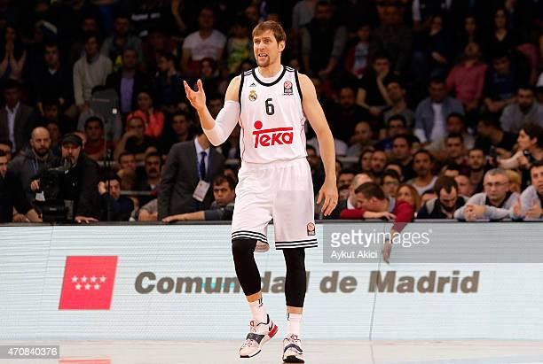 Andres Nocioni #6 of Real Madrid in action during the 20142015 Turkish Airlines Euroleague Basketball Play Off Game 4 between Anadolu Efes Istanbul v...
