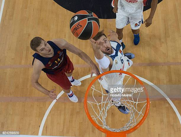 Andres Nocioni #6 of Real Madrid in action during the 2016/2017 Turkish Airlines EuroLeague Regular Season Round 8 game between FC Barcelona Lassa v...