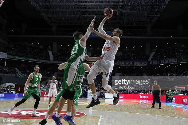 Andres Nocioni #6 of Real Madrid in action during the 2016/2017 Turkish Airlines EuroLeague Regular Season Round 9 game between Real Madrid v Unics...