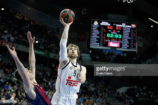 Andres Nocioni #6 of Real Madrid in action during the Euroleague Basketball Top 16 Date 6 game between Real Madrid v FC Barcelona at Barclaydcard...