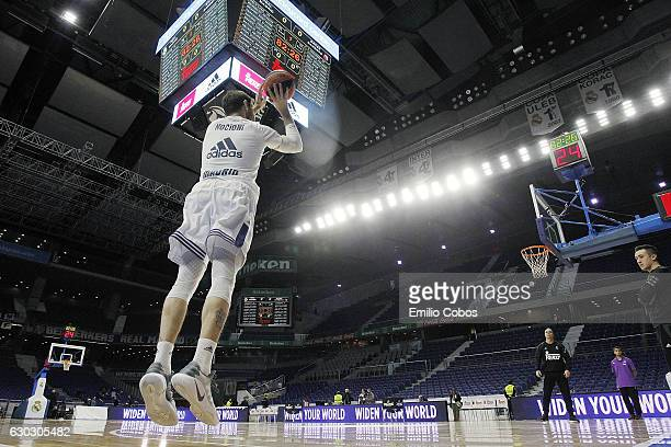 Andres Nocioni #6 of Real Madrid warming up during the 2016/2017 Turkish Airlines EuroLeague Regular Season Round 13 game between Real Madrid v Brose...