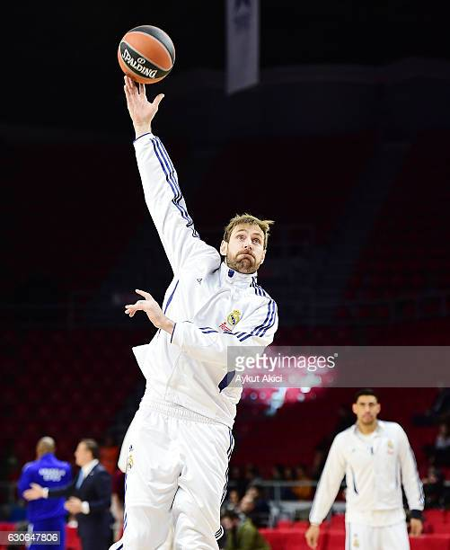 Andres Nocioni #6 of Real Madrid warmsup prior to the 2016/2017 Turkish Airlines EuroLeague Regular Season Round 15 game between Anadolu Efes...