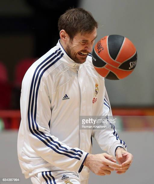 Andres Nocioni #6 of Real Madrid warmsup prior to the 2016/2017 Turkish Airlines EuroLeague Regular Season Round 22 game between Unics Kazan v Real...