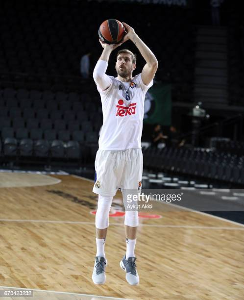 Andres Nocioni #6 of Real Madrid warmsup prior to the 2016/2017 Turkish Airlines EuroLeague Playoffs leg 3 game between Darussafaka Dogus Istanbul v...