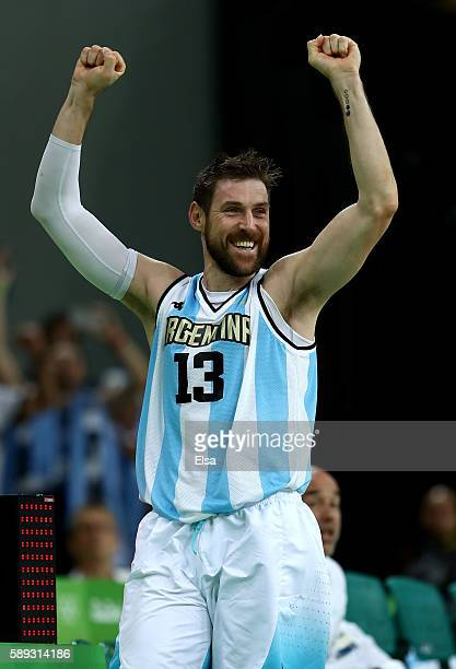 Andres Nocioni of Argentina celebrates the 111107 double overtime win over Brazil during the Men's Preliminary Round Group B match on day 8 of the...