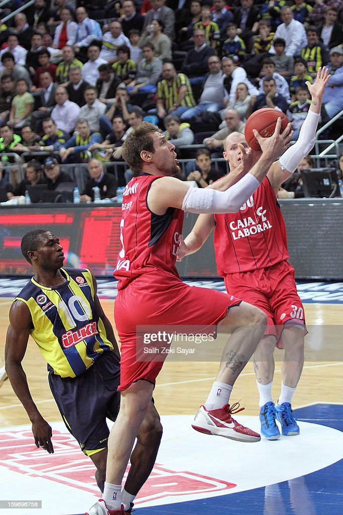 Andres Nocioni #5 of Caja Laboral in action during the 2012-2013 Turkish Airlines Euroleague Top 16 Date 4 between Fenerbahce Ulker Istanbul v Caja Laboral Vitoria at Fenerbahce Ulker Sports Arena on January 18, 2013 in Istanbul, Turkey.