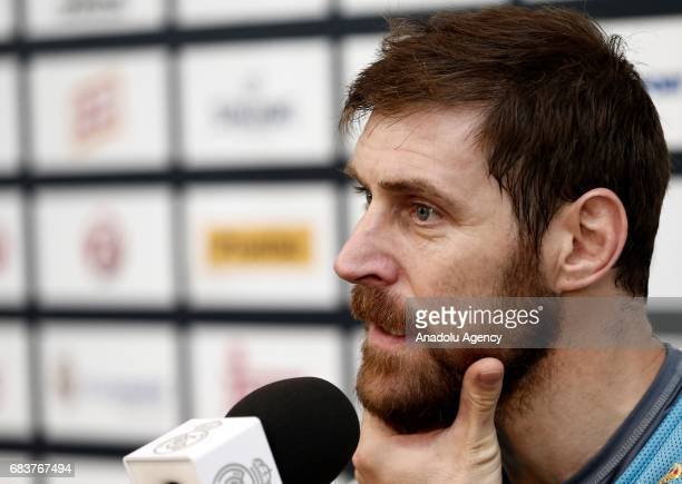 Andres Nocioni of Real Madrid speaks during a press conference as part of Media Day ahead of 2017 Turkish Airlines Euroleague Final Four at training...