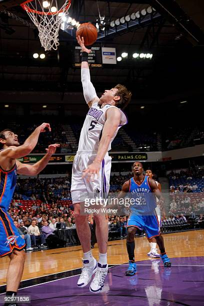 Andres Nocioni of the Sacramento Kings lays the ball in the basket against the Oklahoma City Thunder on November 10 2009 at ARCO Arena in Sacramento...