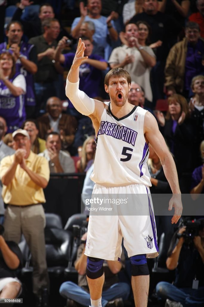 Andres Nocioni #5 of the Sacramento Kings reacts during the game against the Memphis Grizzlies at Arco Arena on November 2, 2009 in Sacramento, California. The Kings won 127-116.