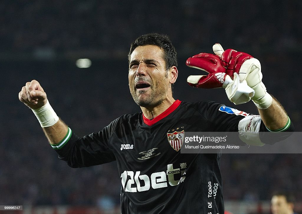 Andres Palop of Sevilla celebrates after the Copa del Rey final between Atletico de Madrid and Sevilla at Camp Nou stadium on May 19, 2010 in Barcelona, Spain. Sevilla won 2-0.