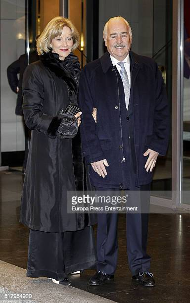 Andres Pastrana and Nohra Puyana attend the Mario Vargas Llosa 80th birthday party on March 28 2016 in Madrid Spain