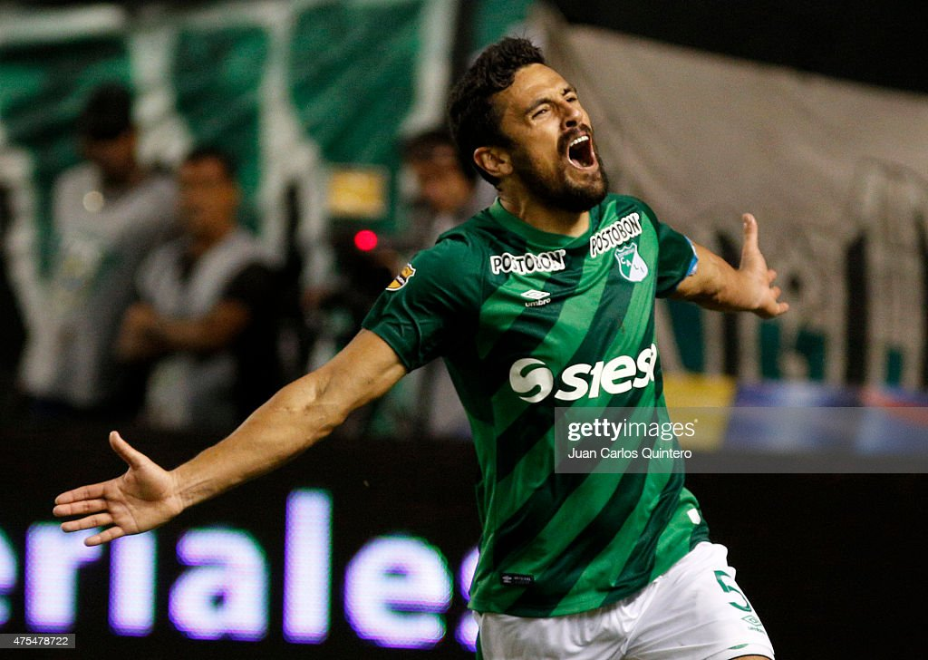 Andres Perez of Cali celebrates after scoring the first goal of his team during a second leg match between Deportivo Cali and Millonarios as part of...
