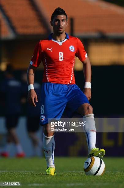 Andres Robles of Chile in action during the Toulon Tournament Group A match between Portugal and Chile at the Stade Perruc on May 23 2014 in Hyeres...