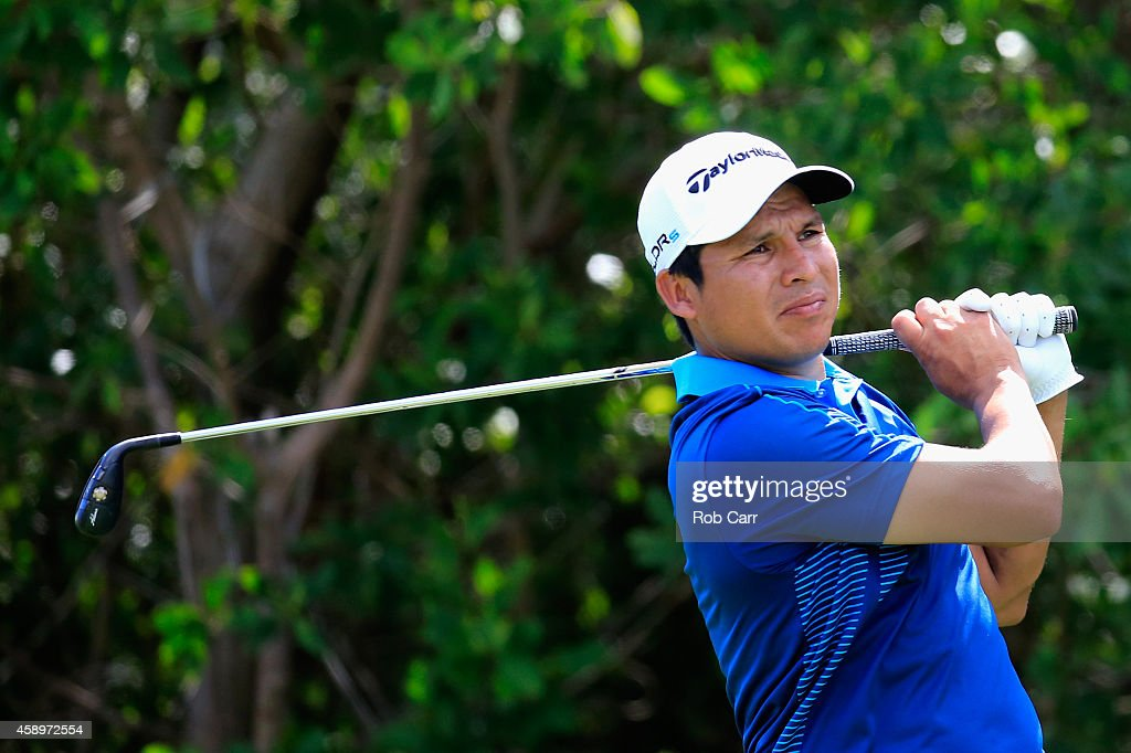Andres Romero of Argentina follows his tee shot on the 17th hole during the second round of the OHL Classic at Mayakoba on November 14 2014 in Playa...