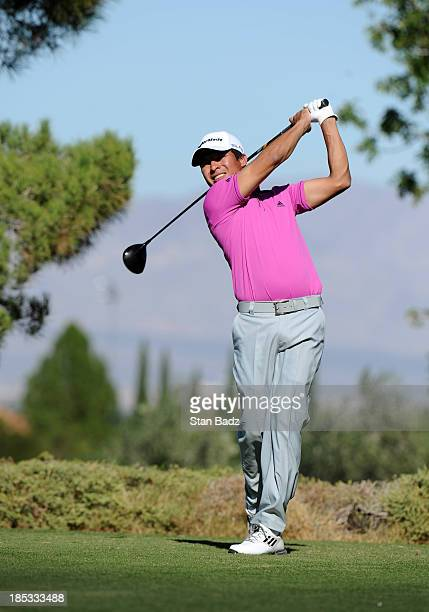 Andres Romero of Argentina hits a drive on the 16th hole during the second round of the Shriners Hospitals for Children Open at TPC Summerlin on...