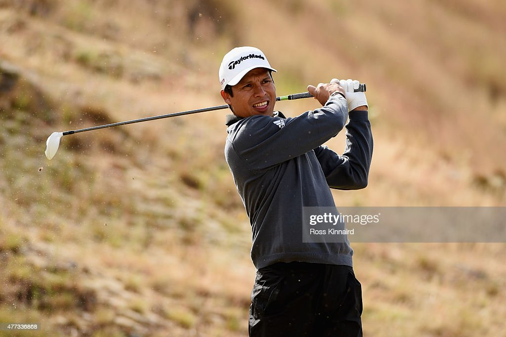 Andres Romero of Argentina hits a tee shot during a practice round prior to the start of the 115th US Open Championship at Chambers Bay on June 16...
