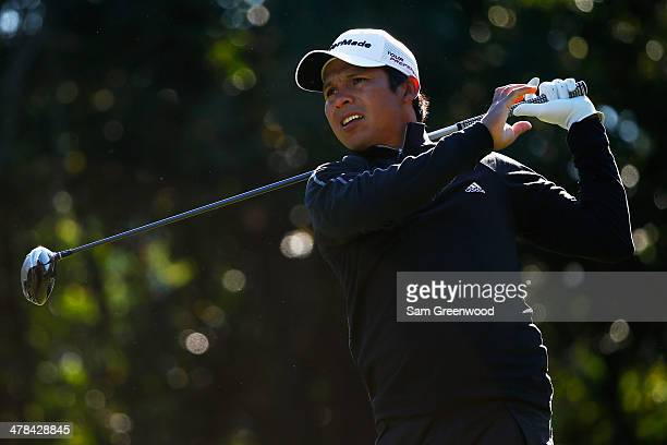Andres Romero of Argentina hits a tee shot on the 9th hole during the first round of the Valspar Championship at Innisbrook Resort and Golf Club on...