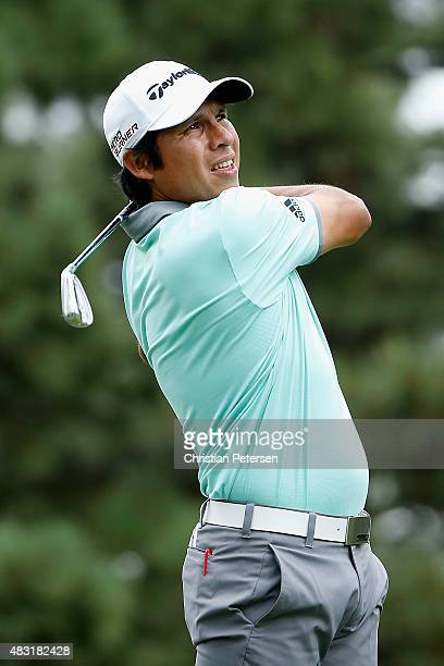 Andres Romero of Argentina hits a tee shot on the third hole during the first round of the Barracuda Championship at the Montreux Golf and Country...