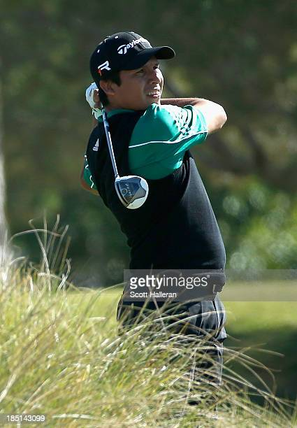 Andres Romero of Argentina hits his tee shot on the 18th hole during the first round of the Shriners Hospitals for Children Open at TPC Summerlin on...