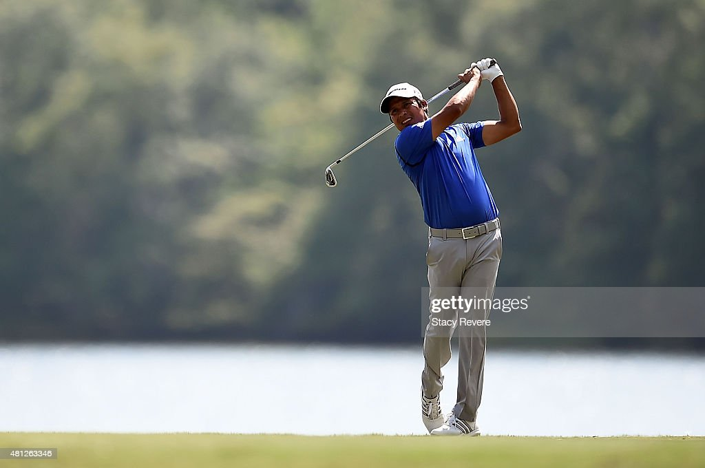 Andres Romero of Argentina hits his tee shot on the ninth hole during the third round of the Barbasol Championship at the Robert Trent Jones Golf...
