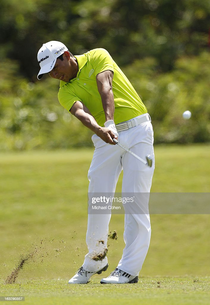 <a gi-track='captionPersonalityLinkClicked' href=/galleries/search?phrase=Andres+Romero&family=editorial&specificpeople=545887 ng-click='$event.stopPropagation()'>Andres Romero</a> of Argentina hits his tee shot on the par three eighth hole during the first round of the Puerto Rico Open presented by seepuertorico.com held at Trump International Golf Club on March 7, 2013 in Rio Grande, Puerto Rico.