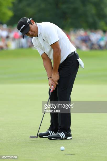 Andres Romero of Argentina holes the winning putt on the 18th green during the final round of the BMW International Open at Golfclub Munchen...