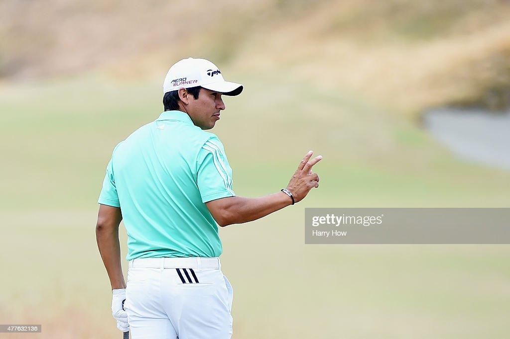Andres Romero of Argentina looks on from the first tee during the first round of the 115th US Open Championship at Chambers Bay on June 18 2015 in...