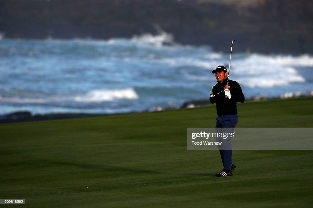 <a gi-track='captionPersonalityLinkClicked' href=/galleries/search?phrase=Andres+Romero&family=editorial&specificpeople=545887 ng-click='$event.stopPropagation()'>Andres Romero</a> of Argentina plays a shot from the fairway on the 10ht hole during the second round of the AT&T Pebble Beach National Pro-Am at the Pebble Beach Golf Links on February 12, 2016 in Pebble Beach, California.