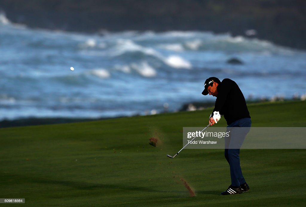 Andres Romero of Argentina plays a shot from the fairway on the 10ht hole during the second round of the AT&T Pebble Beach National Pro-Am at the Pebble Beach Golf Links on February 12, 2016 in Pebble Beach, California.